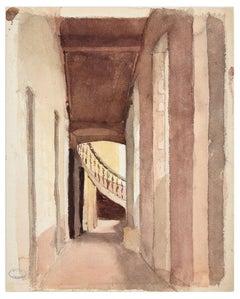 Glimpse - Original Watercolor by J. Hébert - Late 19th Century
