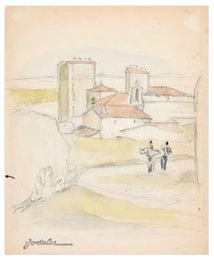 Landscape - Original Pencil and Watercolor by E.C. Jodelet - Mid 20th Century