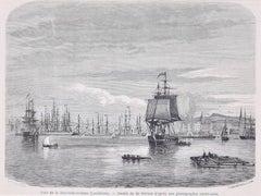 Port de la Nouvelle-Orléans - Original Woodcut by A.-F. Pannemaker - 1865