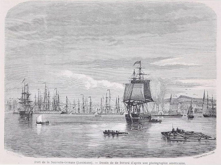 """Port de la Nouvelle-Orléans s a beautiful black and white xylograph on paper, realized by François Pannemaker, after a drawing from a photograph by E. de Berard, as the caption under the image suggests and the signature under the print on sides """" E."""