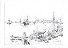 Port of New Orleans - Original Lithograph by J.H. Tringham - 1890