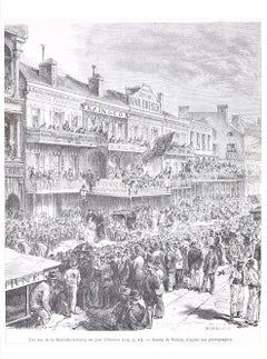Un jour d'élection - Original Lithograph by H.-T. Hildibrand - 1880