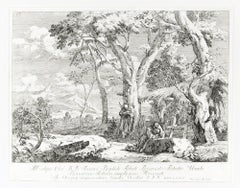 Landscape With Two Hermits - Original Etching by Marco Ricci - 1730