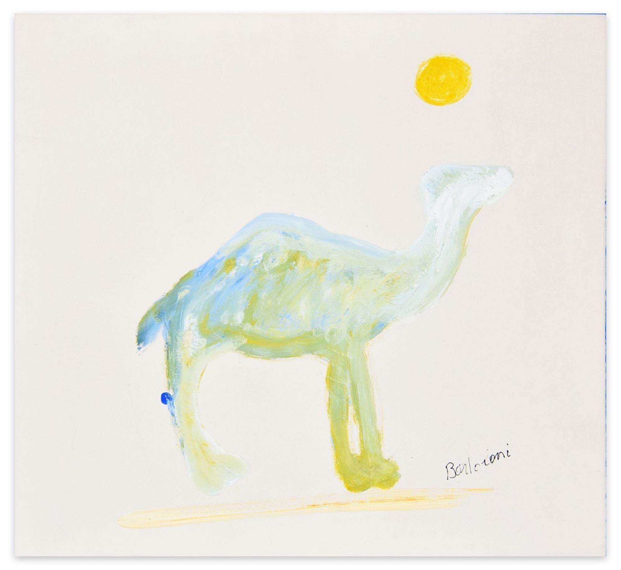Camel - Oil on Cardboard by Lillo Bartoloni - 1974