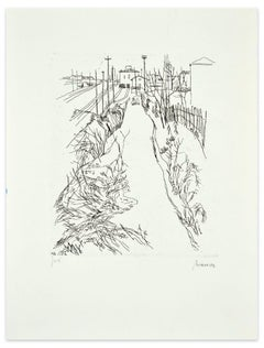 Landscape - Original Etching by Renzo Biasion - Mid 20th Century