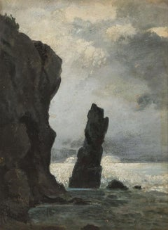 Faraglioni in Capri - Original Oil on Table by M. Roeder - Early 20th Century