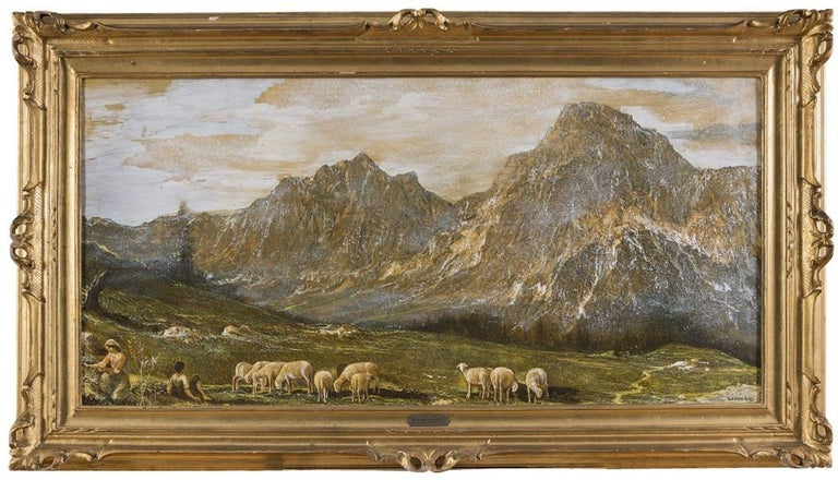 Gino Federici Landscape Painting - Mountainscape with Pasture - Oil on Canvas by G. Federici - Early 20th Century