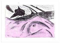 Pink Nude - Original Lithograph by Nino Terziari - 1970s