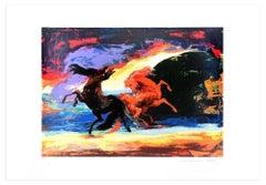 Horse Carousel - Original Screen Print by Gianni Testa - 1986