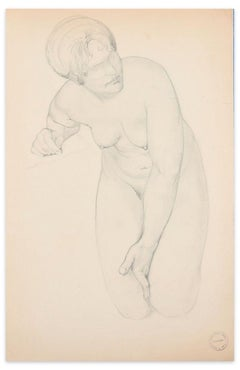 Kneeling Nude - Original Pencil Drawing by Paul Garin - Mid 20th Centur
