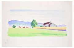 Countryside - Original Watercolor on Paper by Pierre Segogne - 1950s