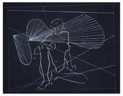 Sitting Nude - Original White Ink on Black Cardboard Drawing - 1970s