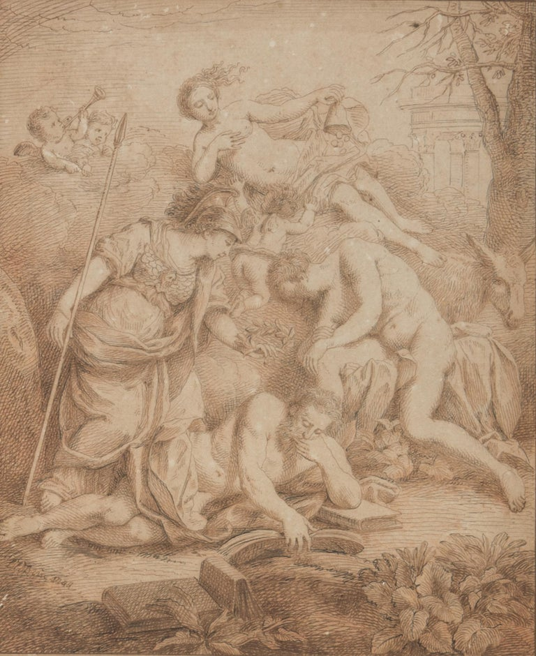 Allegorical Scene is an original modern artwork attributed to the Louis Fabricius Dubourg in the first half of the XVIII Century.  Original sepia drawing on paper.   Durmast wood Frame included.   Fair conditions.   Fine work on paper representing