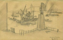 London Harbor - Original Charcoal Drawing by R.L. Antral - 1930s