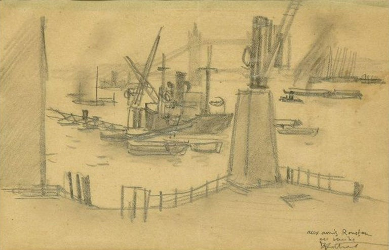 London Harbor is an original drawing on paper realized in the 1930s by Robert Louis Antral.  This is an original black and white drawing representing a view of a London harbor with boats.  The artwork is hand-signed and has a dedication on the lower