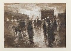 A Night in Paris - Original Mixed Media on Paper by P. Scoppetta - 1911