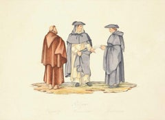 Religious Men - Colored Etching After F. Ferrari by G.B. Cipriani