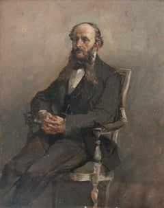 Portrait of Seated Man - Oil on Canvas by A. Pascutti - 1870s