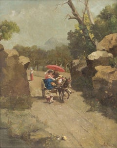 Walking with the Donkey - Oil on Canvas by A. Milone - 1870s