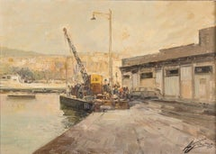 Crane at Pozzuoli Marina - Oil on Canvas by A. Gravina - 1970