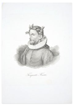 Torquato Tasso - Black and White Etching by G. Marcucci - Mid 19th Century