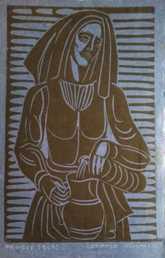 Prosit! - Original Woodcut by Leopold Schmid - 1960