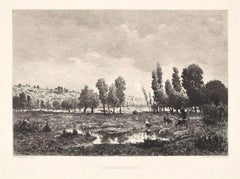 Les Côteaux de Melun - Etching and Aquatint After Théodore Rousseau - Late 1800