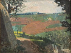Landscape - Oil on Cardboard by A. Hollaender - Late 19th Century