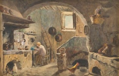 Peasants' House - Watercolor on Paper by E. Gioja -