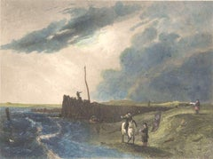 The Old Pier at Littlehampton - Lithograph on Paper by J. Cousen - Mid-1800