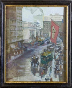 New York - Early 20th Century Fifth Avenue - Original Watercolor Early 1900