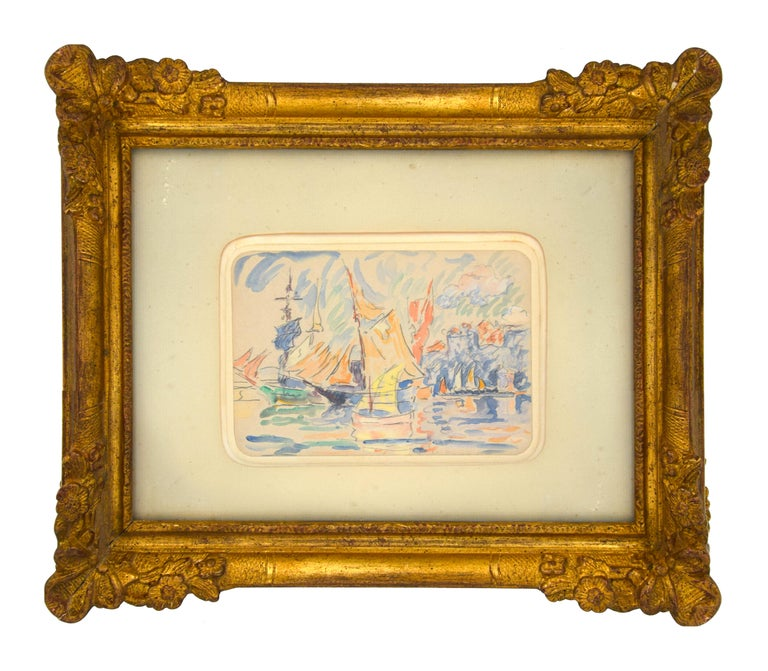 Image dimensions: 11x15.2 cm.  Saint-Tropez is a wonderful and important original watercolor drawing realized by Paul Signac in 1900 ca..   A marine view with sailing ships is incredibly colored and realized by the Divisionism 's master and in very