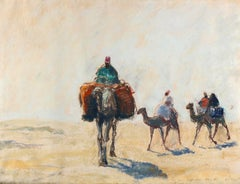 At the Libyan Desert - Original Pastel Drawing German School 1910/20