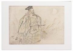 Samurai Playing Flute - Mixed Media by Matsumura Keibun School - 1800