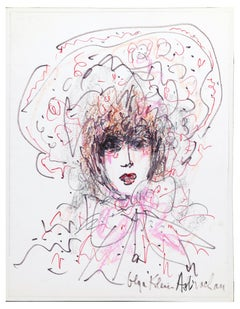 Portrait Of Lady With Hat - Pastel and Felt on Paper - 1970s