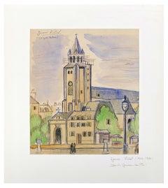 Saint Germain de Prés - Ink, Pastel and Watercolor on Paper - 1950s