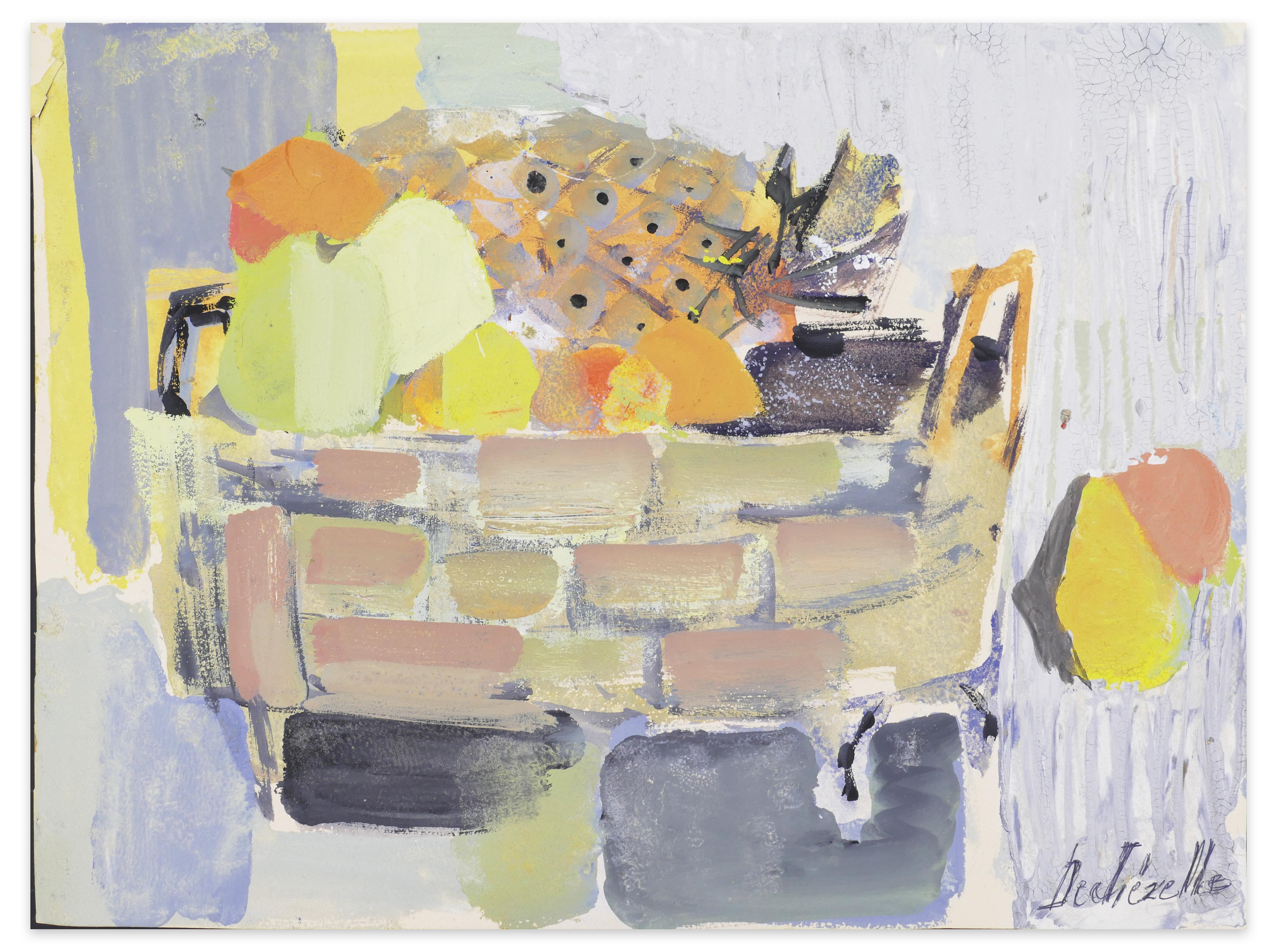 Still Life - Acrylic Painting on Canson Paper by C. Dechezelle - 1970s