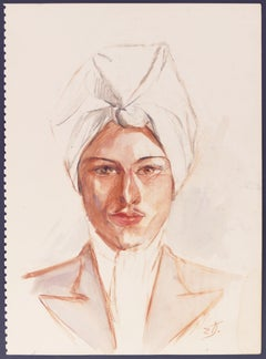 Mon Cousin Jean - Original Watercolor and Sanguine by E. Diverly - 1950s