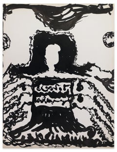 Black Composition - Original Tempera on Paper by J.-J. town - 1967