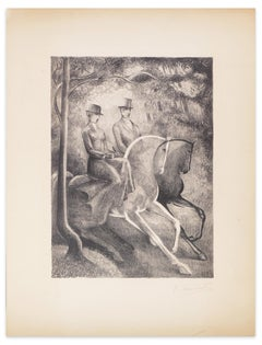 Black and White Horses - Original Lithograph by R. Mendes France - Mid 1900