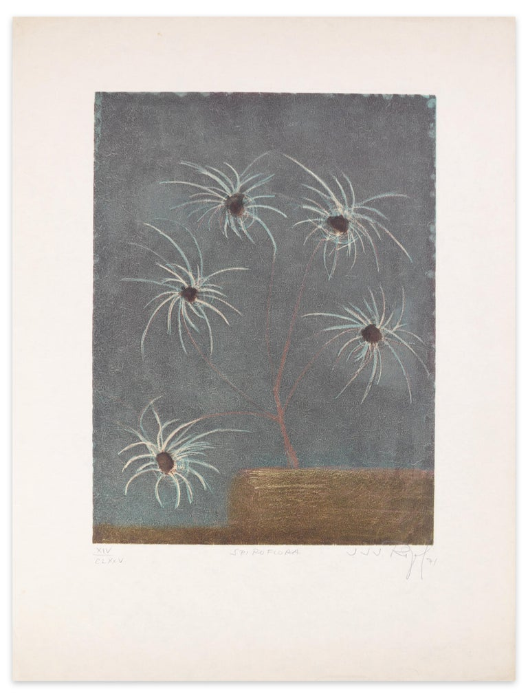 Spiroflora is an original artwork realized by Jacques Joachim Jean Rigal in 1971.   Original colored etching  Hand-signed by the artist on the lower right corner. Numbered on lower left. Edition XIV/CLXXV.  Titled on lower center.  The artwork