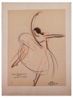 Tamara Toumanova dans Giselle - Original Oil Pastel Drawing by J. Target - 1949