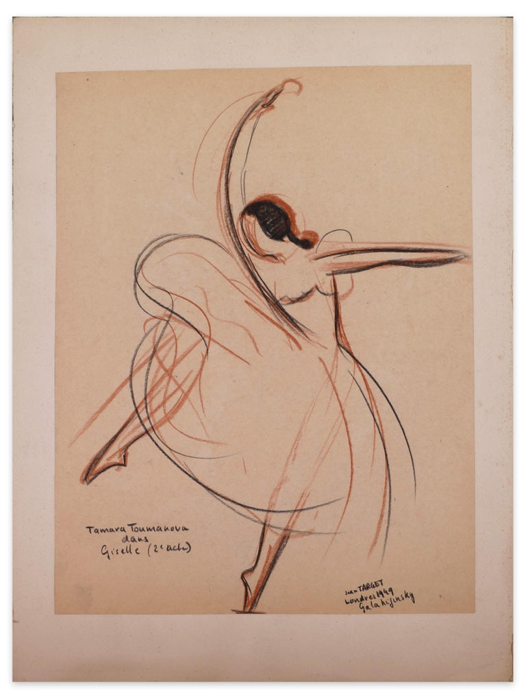 Tamara Toumanova dans Giselle is beautiful oil pastels original drawing on ivory colored-paper, realized in 1949 by Jean Target.   Signed and dated in black oil pastel on lower right margin. Title in black oil pastel on lower left margin.   Original