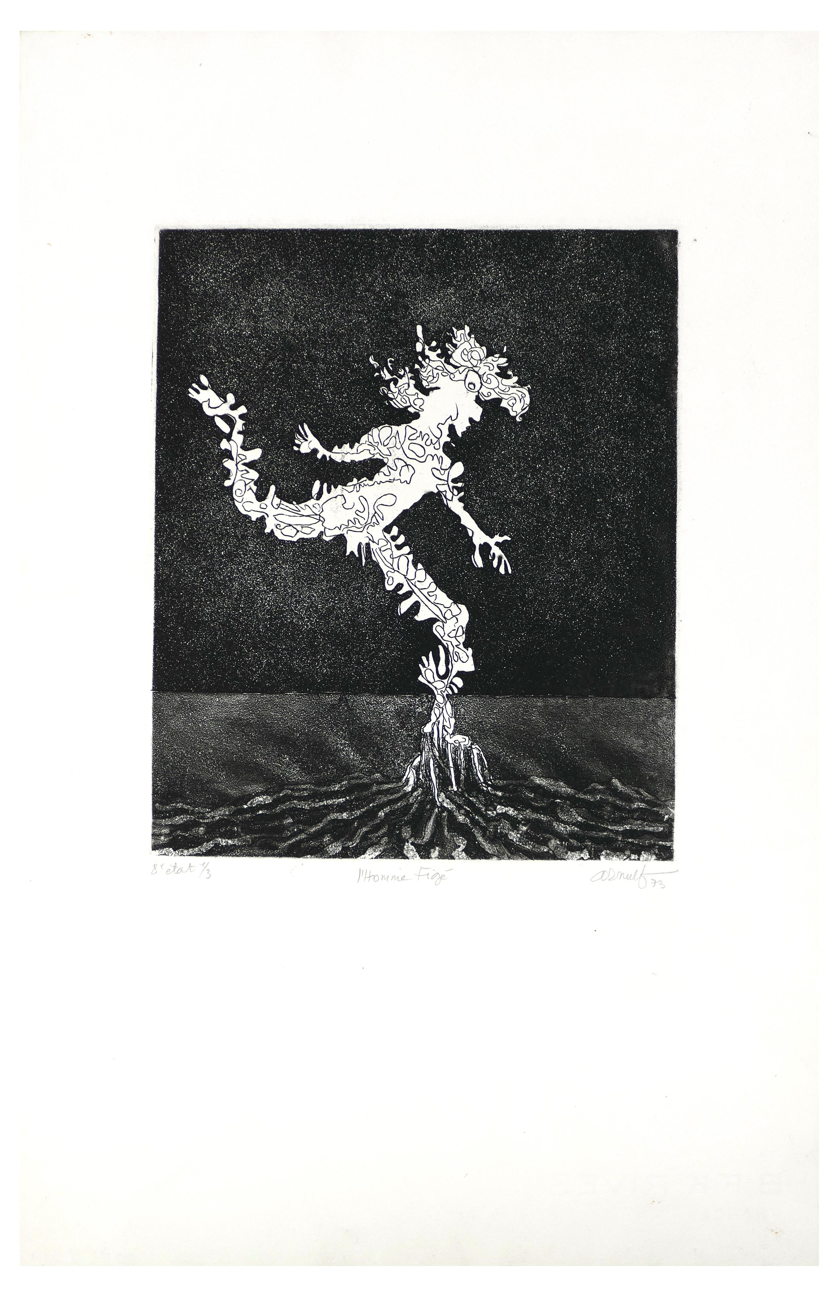 L'Homme Figé - Original B/W Etching by G. Arnulf - 1973