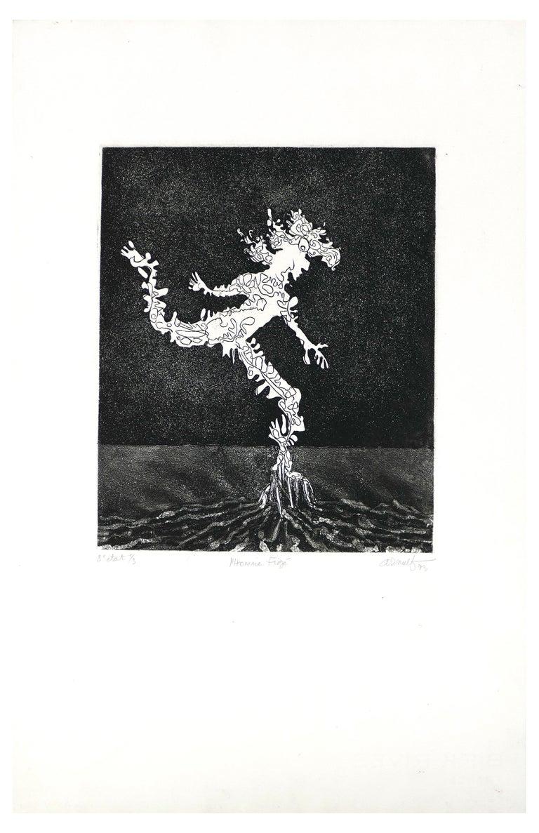 Georges Gaston Arnulf Figurative Print - L'Homme Figé - Original B/W Etching by G. Arnulf - 1973