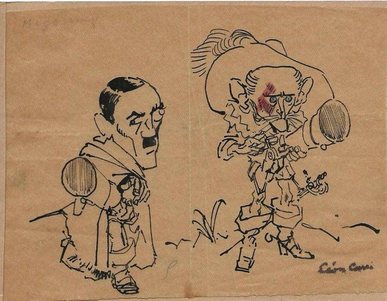 Léon Carré Figurative Art - Caricature de personne chat botté - China Ink Drawing 1930/42