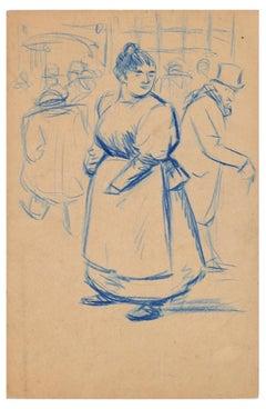 Femme debout avec tablier - Blue Oil Pastel Drawing by E. Couturier - 1890s