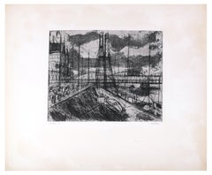 View of Rotterdam - Original Etching by R. Klaveren-Exel - 1970s