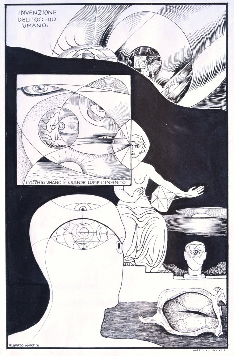 Invention of the Human Eye - Original China Ink on Paper by A. Martini - 1935 1