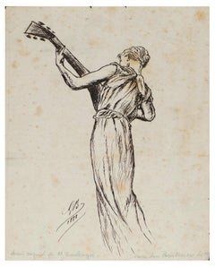 Playing Woman - Original China Ink Drawing by G.R.C. Boulanger - 1881